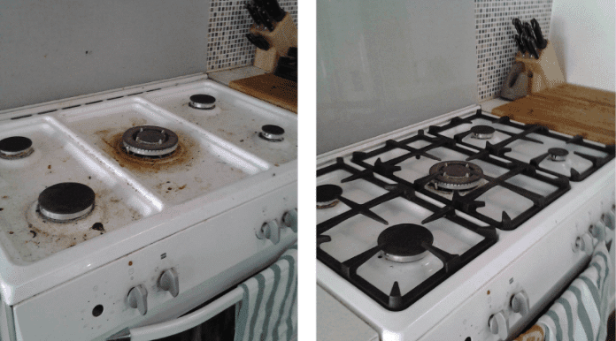 Stove Deep Cleaning Before and After