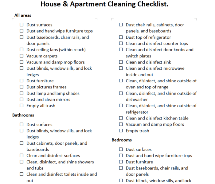 Apartment and house cleaning checklist PDF